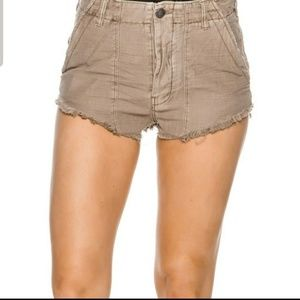 Free People Raw and Patched Frayed Tan Shorts